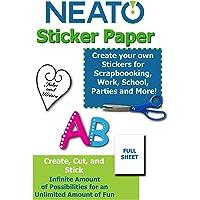 "NEATO Printable Sticker Paper - Full Blank Sheet - White Matte - for Inkjet/Laser Printers - 8.5"" X 11"" - Online Design Software Included (50 Sheets)"