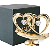 Matashi 24K Gold Plated Happy Anniversary Double Heart Figurine Ornament with Genuine Crystals (Clear Crystal) - Wedding Gift