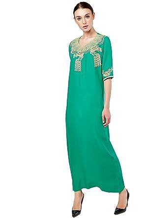 Amazon.com  Baya Muslim Dress Dubai Kaftan for Women Half Sleeve Arabic Long  Dress Abaya Islamic Clothing Girls Caftan Jalabiya  Clothing 2edf0d6d1b84