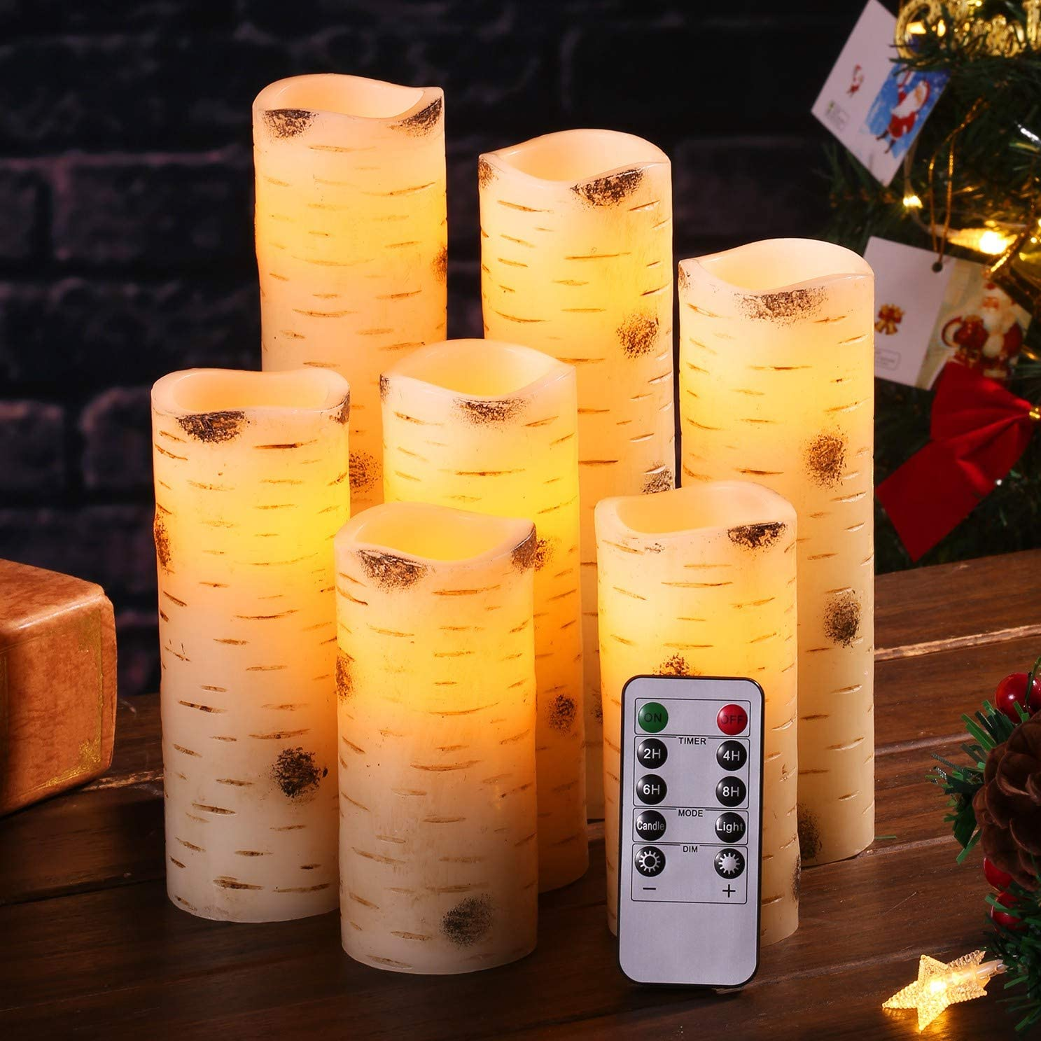 Flameless Candles Flickering LED Candles Birch Bark Effect Set of 7 D 2.2 X H 5 5 6 6 7 8 9 Ivory Real Wax Pillar Battery Operated Candles with 10-Key Remote Control and Cycling 24 Hours Timer