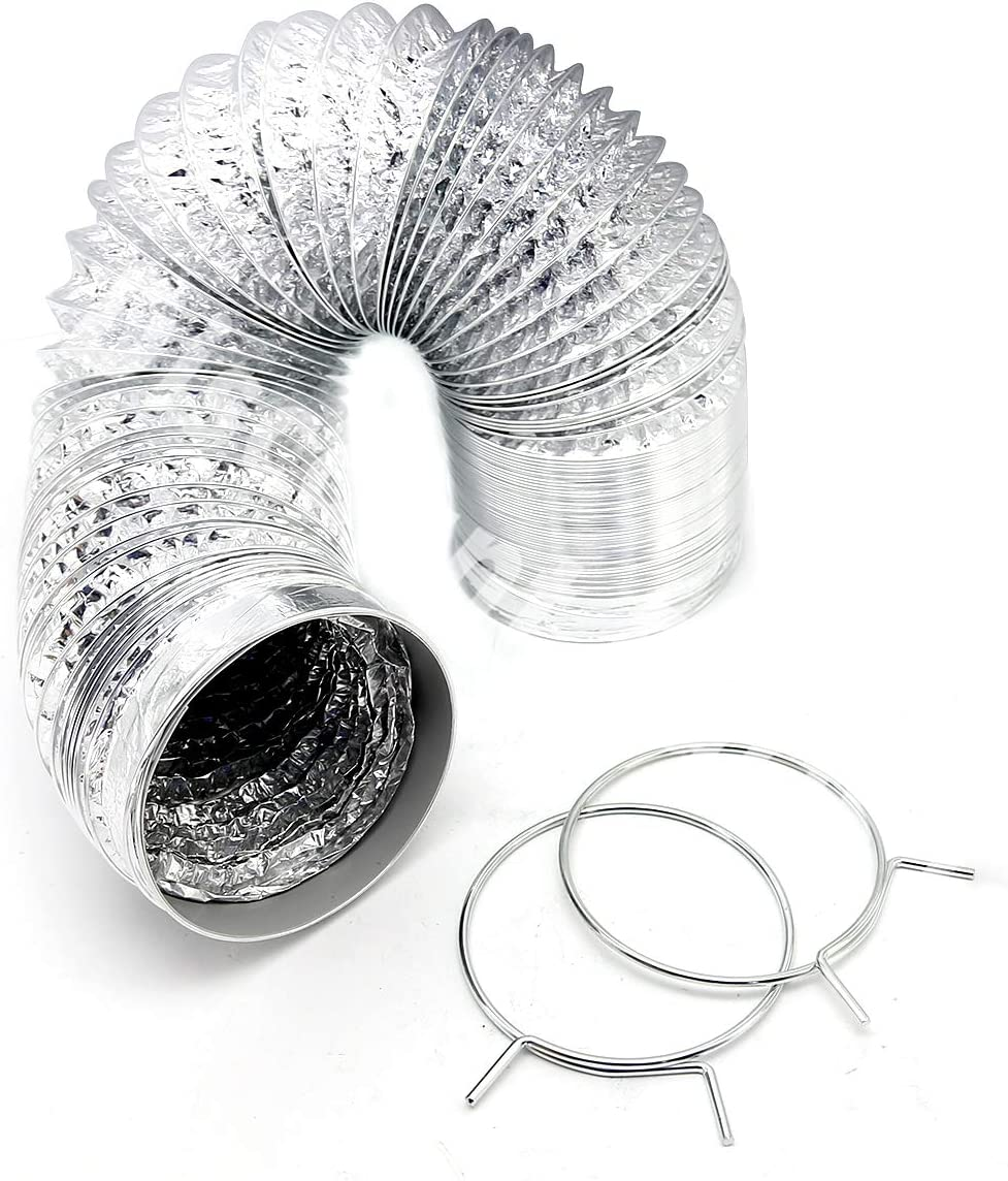 Bathroom Omont Flexible Air Duct Hose Dryer Rooms 2 Clamps Include Great for Kitchen 4 Inch 10 Feet Non-Insulated Air Aluminum Foil Ducting Dryer Vent Hose for HVAC Ventilation Grow Tents