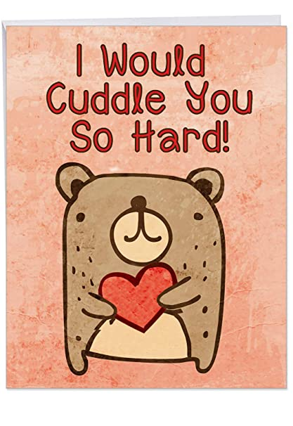 Big Cuddle You So Hard Valentines Day Greeting Card 85 X 11 Inch