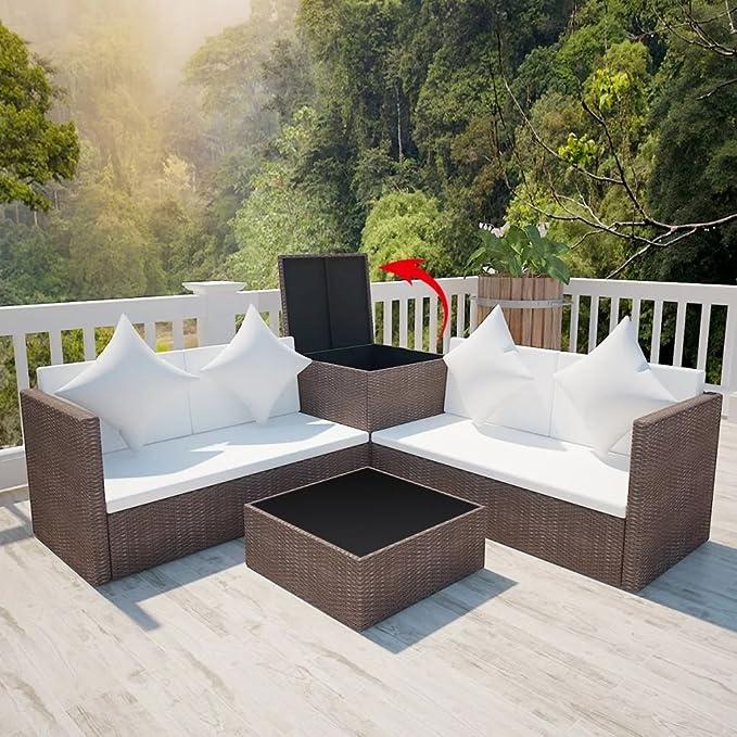 Amazon.com: Festnight 4 Piece Outdoor Garden Sofa Set Lounge ...
