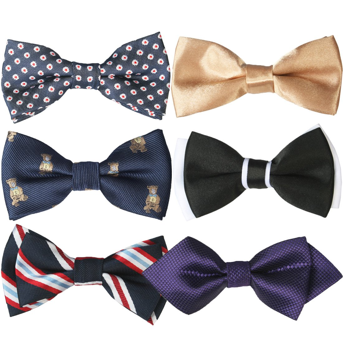 kilofly Pre-tied Adjustable Boys Baby Neck Bow Ties Mixed Value Pack, Set of 6 BBA513set6