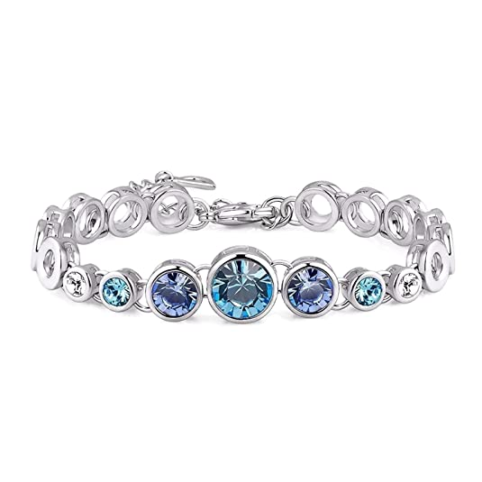 NEVI Crystals from Swarovski Rhodium Plated Charm Strand Bracelet Jewellery for Women and Girls Girls' Bangles & Bracelets at amazon