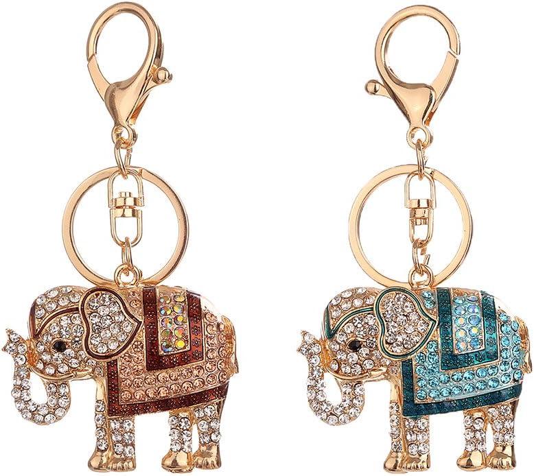 Homyl Chic Elephant Keychain Rhinestone Crystal Keyring Key Ring Bag Alloy Pendant