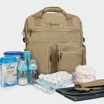 25e8bdfd8281b Amazon.com : Becko Multi-functional Diaper Bag / Travel Padded Backpack /  Adjustable Shoulder Bag / Tote Handbag with Changing Pad (Khaki) : Baby