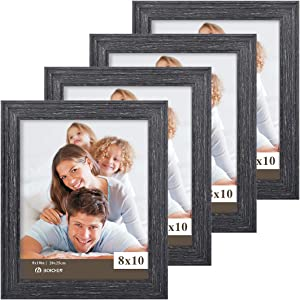 BOICHEN Picture Frames 8x10 Black (Set of 4 Pack) - Rustic Farmhouse Wooden Frame - Photo Frame with Glass Cover Ready to Hang or Stand