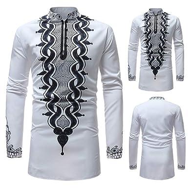 3bfe2ff03482d Amazon.com  Hemlock Men African Dashiki Shirt Long Autumn Blouse Shirts  Long Sleeve Retro Turtleneck Tops Outwear  Clothing