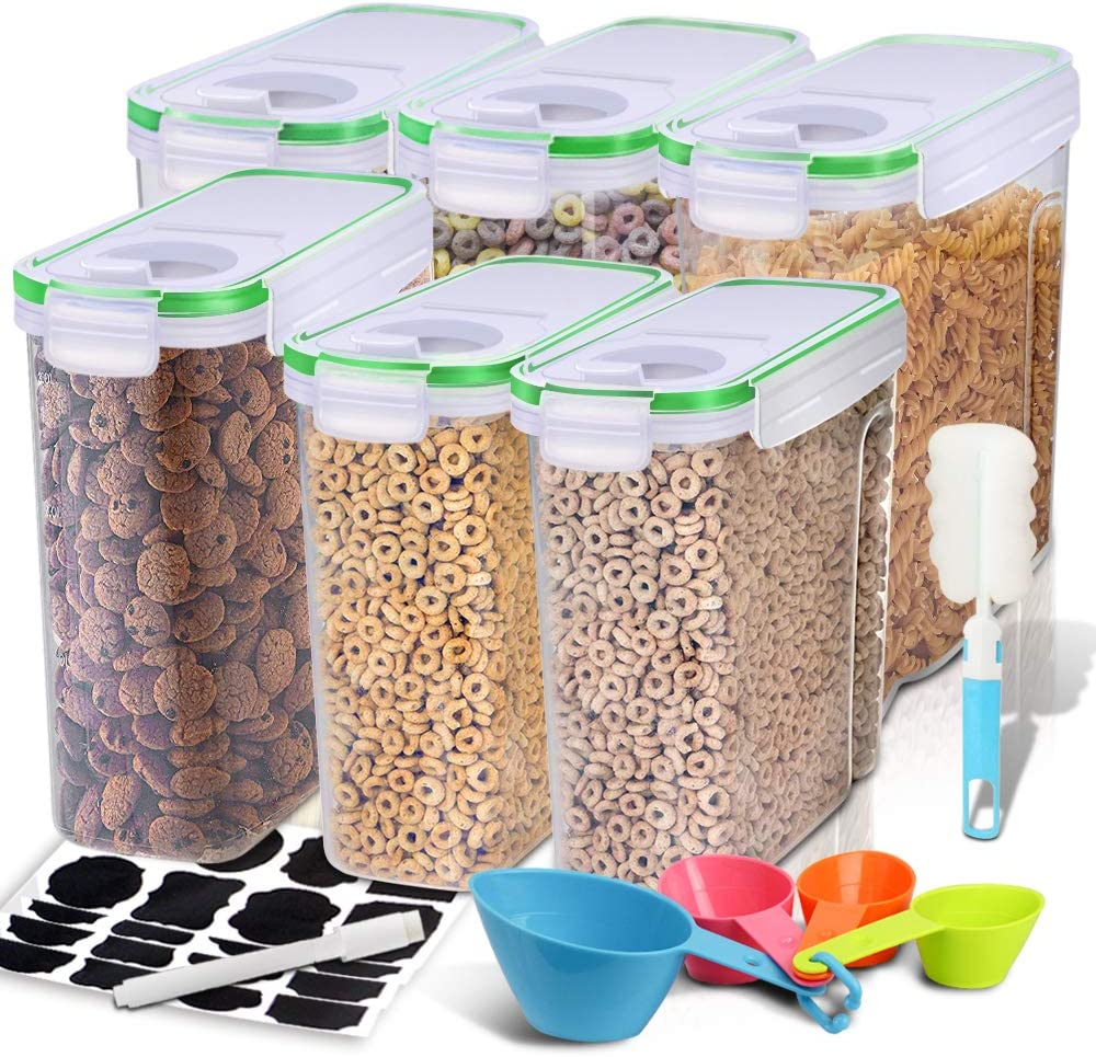 Cereal Container, EAGMAK Airtight Dry Food Storage Containers, BPA Free Large Kitchen Pantry Storage Container for Flour, Snacks, Nuts & More (Green, Set of 6)