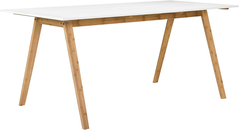en.casa]®] Mesa de Comedor bambú Tablero Lacado Blanco 180x80cm ...
