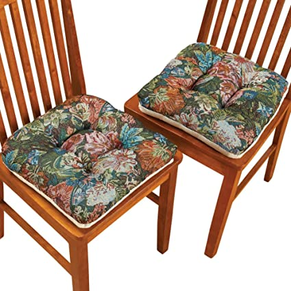 Collections Etc Floral Tapestry Chair Cushions   Set Of 4, Green