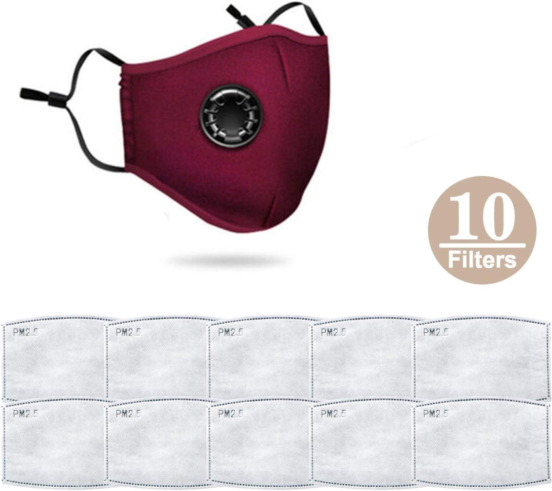 NUOCAI Mascarillas con respiración, 10 filtros PM2.5 Reutilizables Lavables, de algodón, Antipolvo, para Exteriores, Rojo