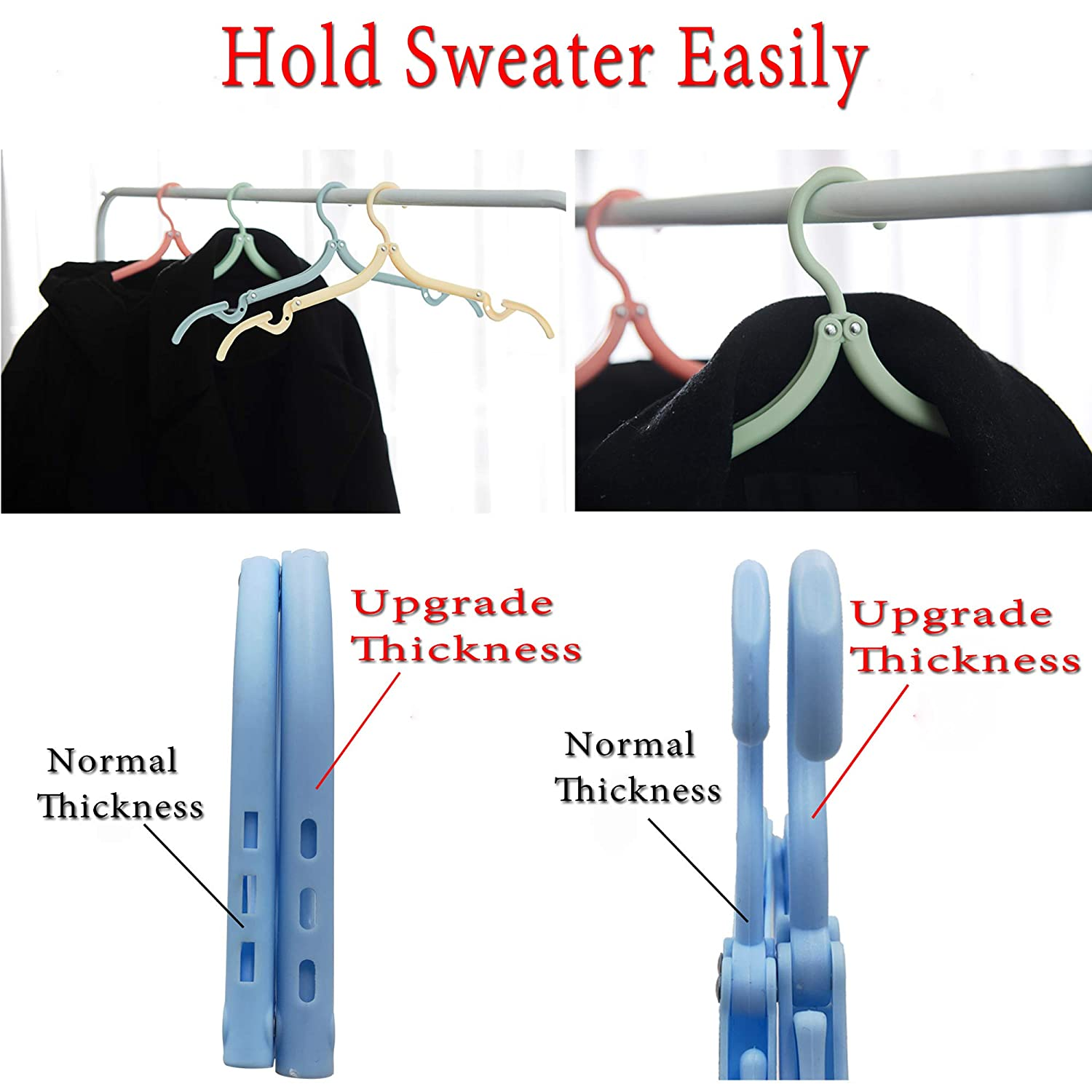 Heavy Duty CandyGrid 8 PCS Travel Hangers Foldable Clothes Drying Rack for Travel 32 Grams Portable Floding Clothes Hangers