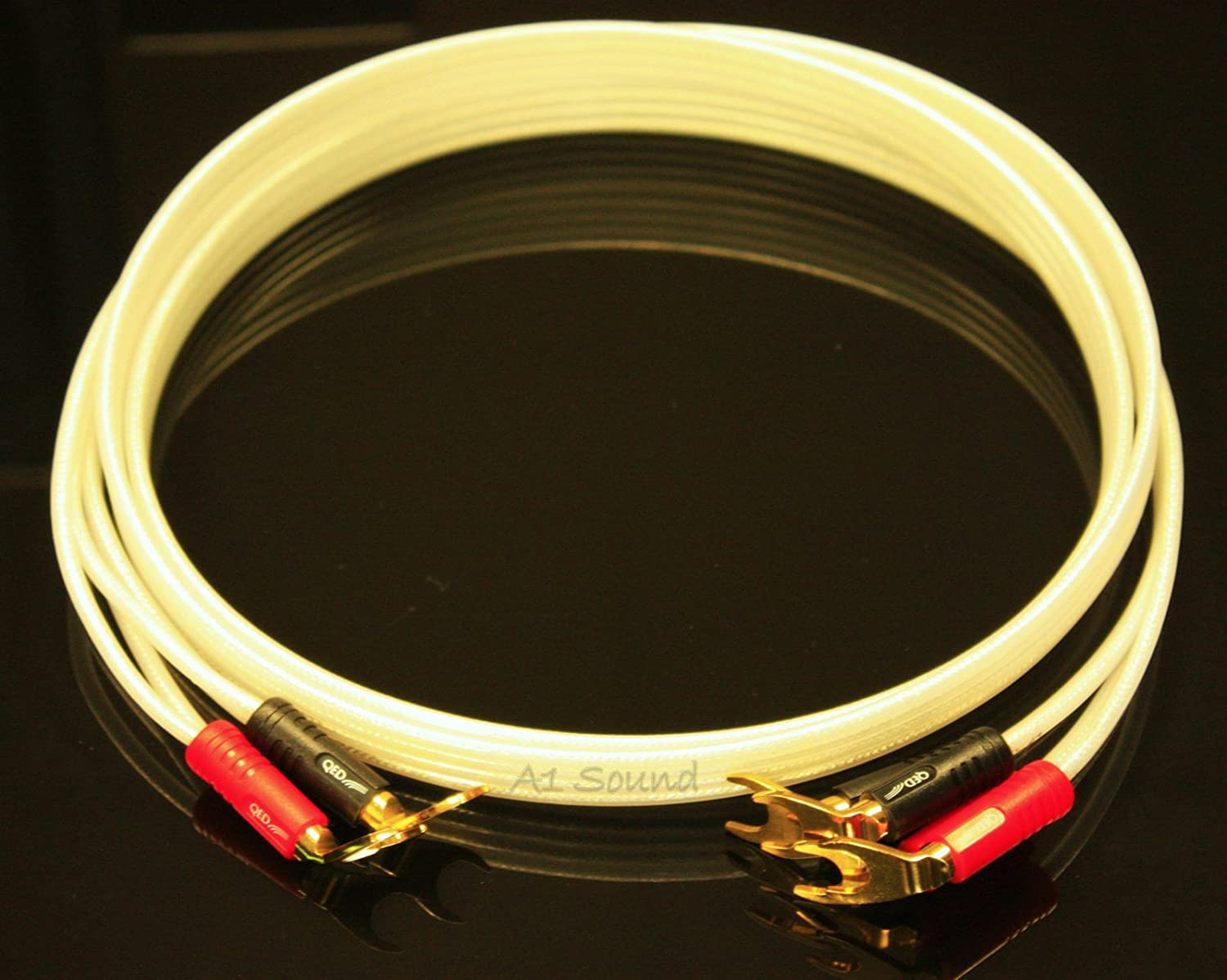 QED Reference Silver Anniversary XT Bi-Wire Speaker Cable 4 Metre Single Length Terminated With Airloc Forte Plugs 2 x 4mm Amplifier End to 4 x 4mm Speaker End