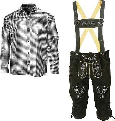 Traje tradicional bávaro para hombre, pantalón de piel con tirantes + camisa traje típico bávaro (pantalón + camisa) SLS03: Amazon.es: Ropa y accesorios