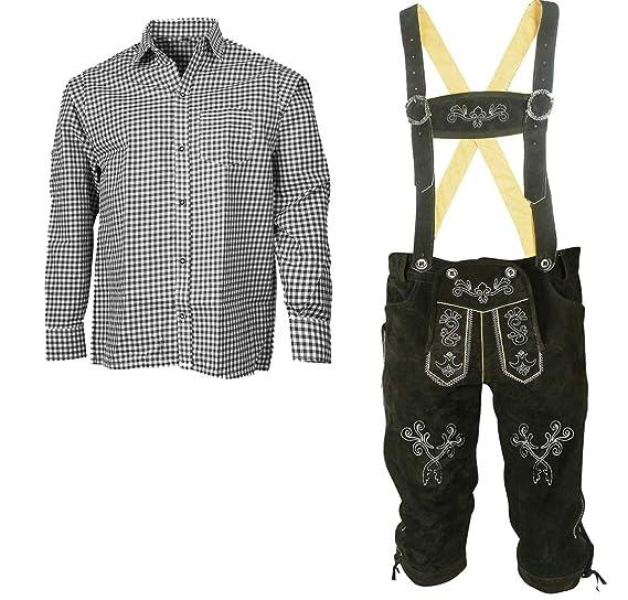 Herren Trachten Set Lederhose mit Trägern + Trachten Hemd Bayerische Oktoberfest (Hose + Hemd) SLS03