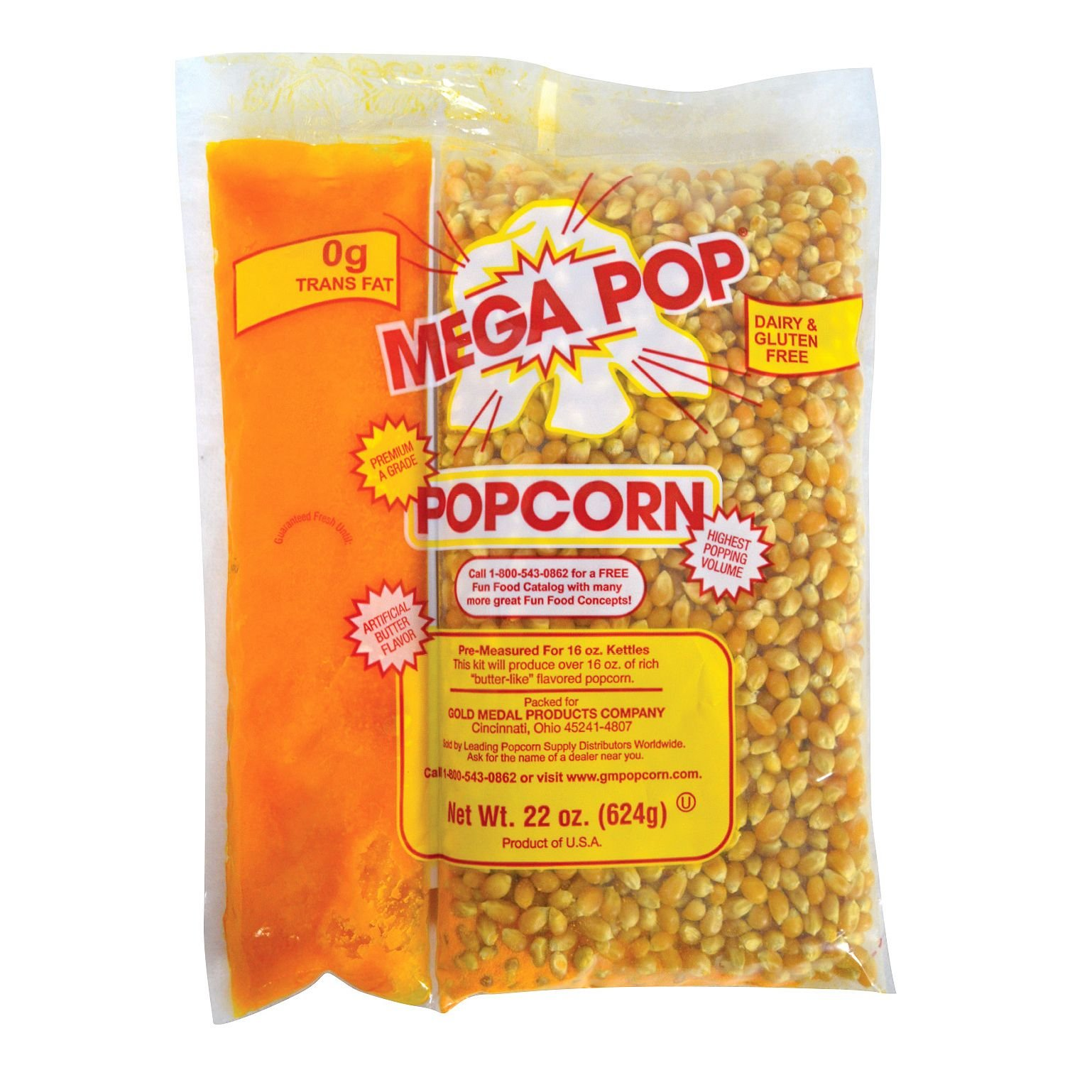 Gold Medal Mega Pop Corn, Oil and Salt Kit (16 oz. kit, 20 ct.) - (Popcorn Kernels & Flavorings)