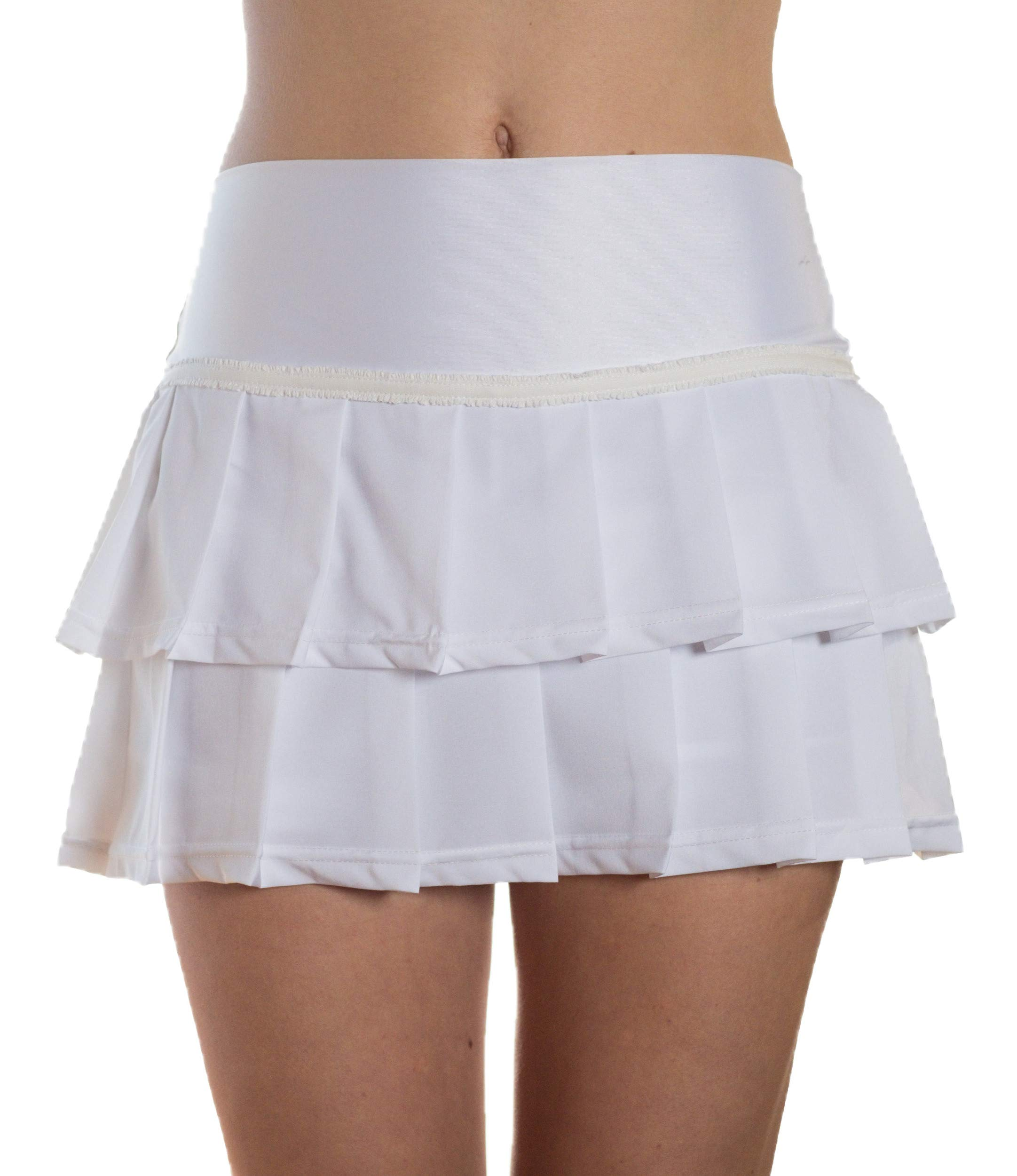 Faye+Florie Lisa 2 Tier Tennis Skirt (White, X-Small)
