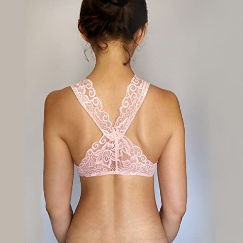 8514897488b Peachy PInk Lace Bralette Top. Bridal Lingerie. Racer Back Wireless Bra:  Handmade