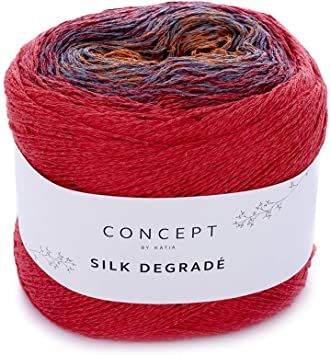 Silk Degradé Bobbel Katia - Ovillo de Lana (150 g, algodón y ...
