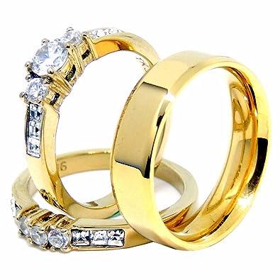 44a142808b29c Amazon.com: Lanyjewelry Couple Rings Set Womens 14K Gold Plated ...