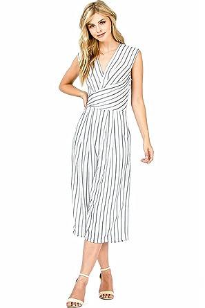 cd11e81d7d22 Amazon.com  Haute Monde Women s Juniors Crop Wide Leg Striped Jumpsuit   Clothing