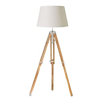 1 light tripod floor lamp base finish natural