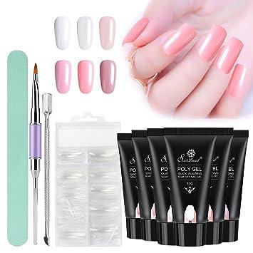 Amazon.com : Poly Gel Nail Kit, Saviland 6 Colors Poly Gel Finger ...