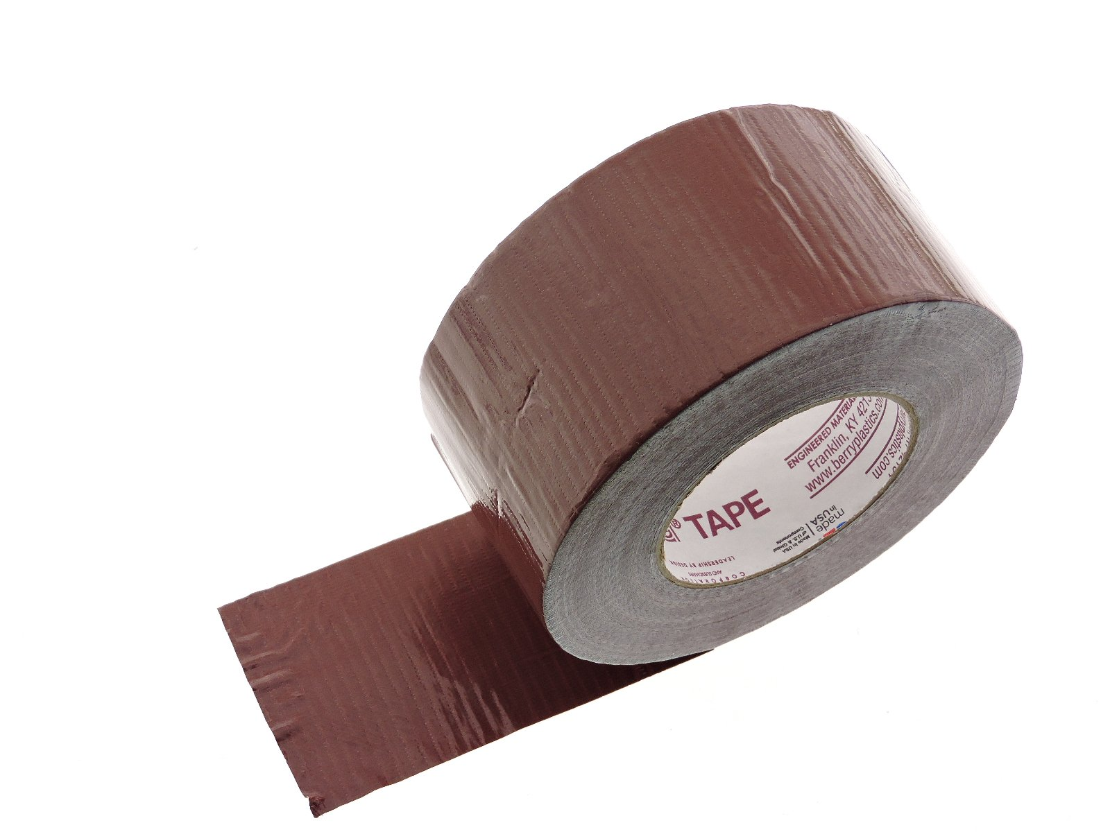 3'' in Brown Duct Tape Nashua 2280 Heavy 9 mil Cloth Reinforced PE Back Duct Tape Water UV Resistant Hand Tearable 60yd USA Made 70 oz inch adhesion 20% elongation 24 lb in tensile strength