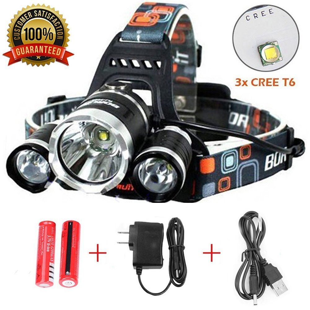 Headlamp, Brightest Head Lamp Provide 10000 Lumens with 3 Original Cree Led, SONY Original 18650 Batteries, Maximum Comfort Headlamps For Outdoor & Indoor,Wall Charger and USB Cable