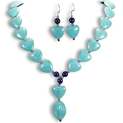 Natural Turquoise Necklace & Earrings Set Sterling Silver Gemstone Jewellery UK Gift Idea by Tantric Tokyo 5GRoyIhAm