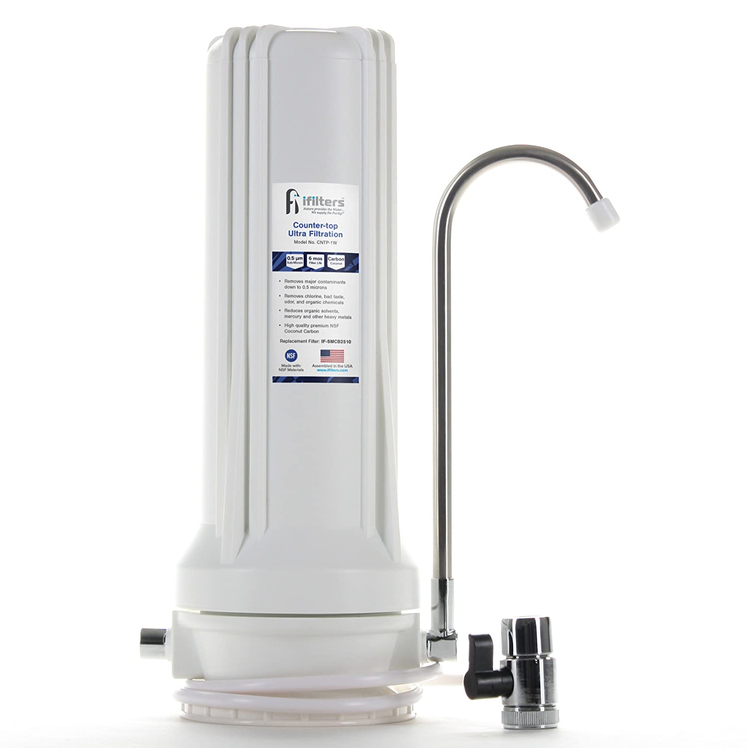 Countertop Ultra Drinking Water Filter for VOCs Cysts Pesticides Herbicides Chlorine Taste & Odor - White, Built in USA