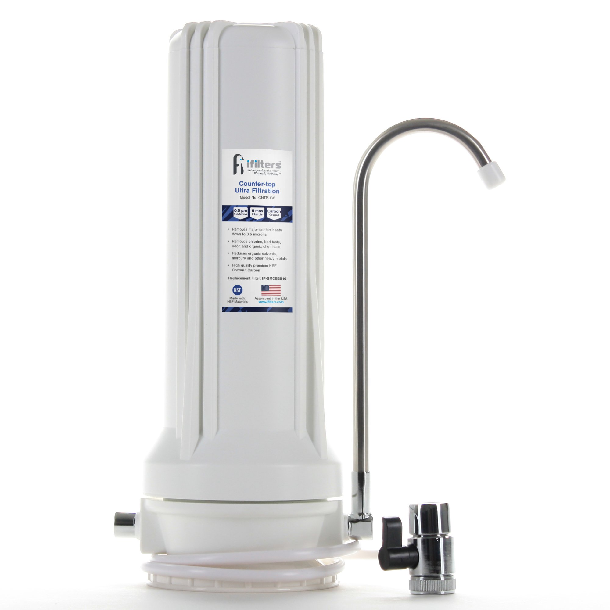 Countertop Ultra Drinking Water Filter for VOCs Cysts Pesticides Herbicides Chlorine Taste & Odor - White by iFilters