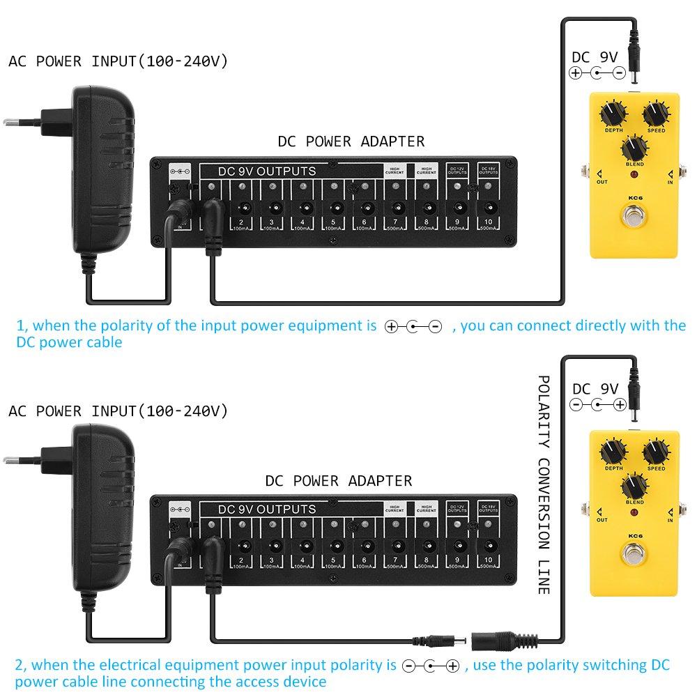Fuente de Alimentación para Pedal de Guitarra, Salida Multi Alimentación para Efectos de Guitarra con 10 cable & Adaptador (9/12/18V): Amazon.es: ...