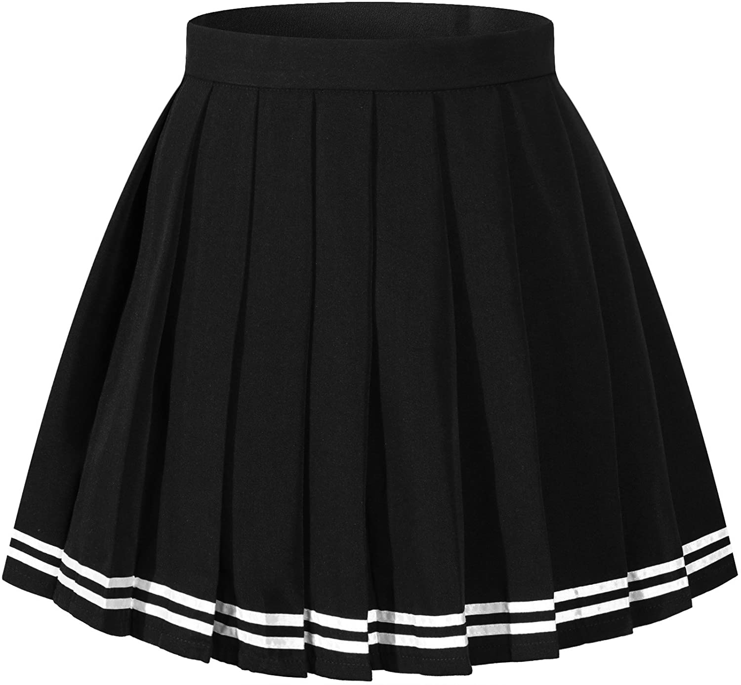 XS,Black Girls Solid Pleated High Waist Cosplay Skirts