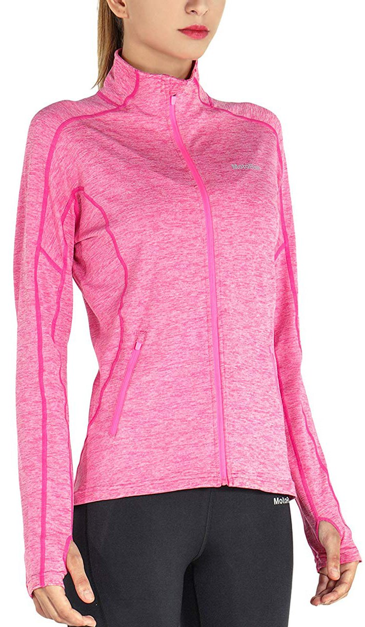 MotoRun Stretchy Women's Running Sports Jackets Full Zip Activewear Coat with Thumb Holes Rosered XL