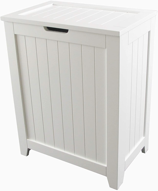 White Wooden Hamper with Flip Lid, Storage Bin Basket, Home Organizer Hamper for Bathroom Laundry Bedroom with Modern Design,Durable and Wood Construction