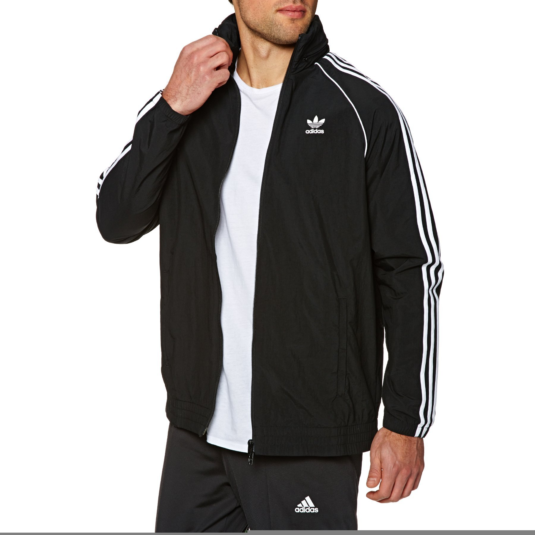 90ed036234 Galleon - Adidas Originals SST Windbreaker Jacket Large Black