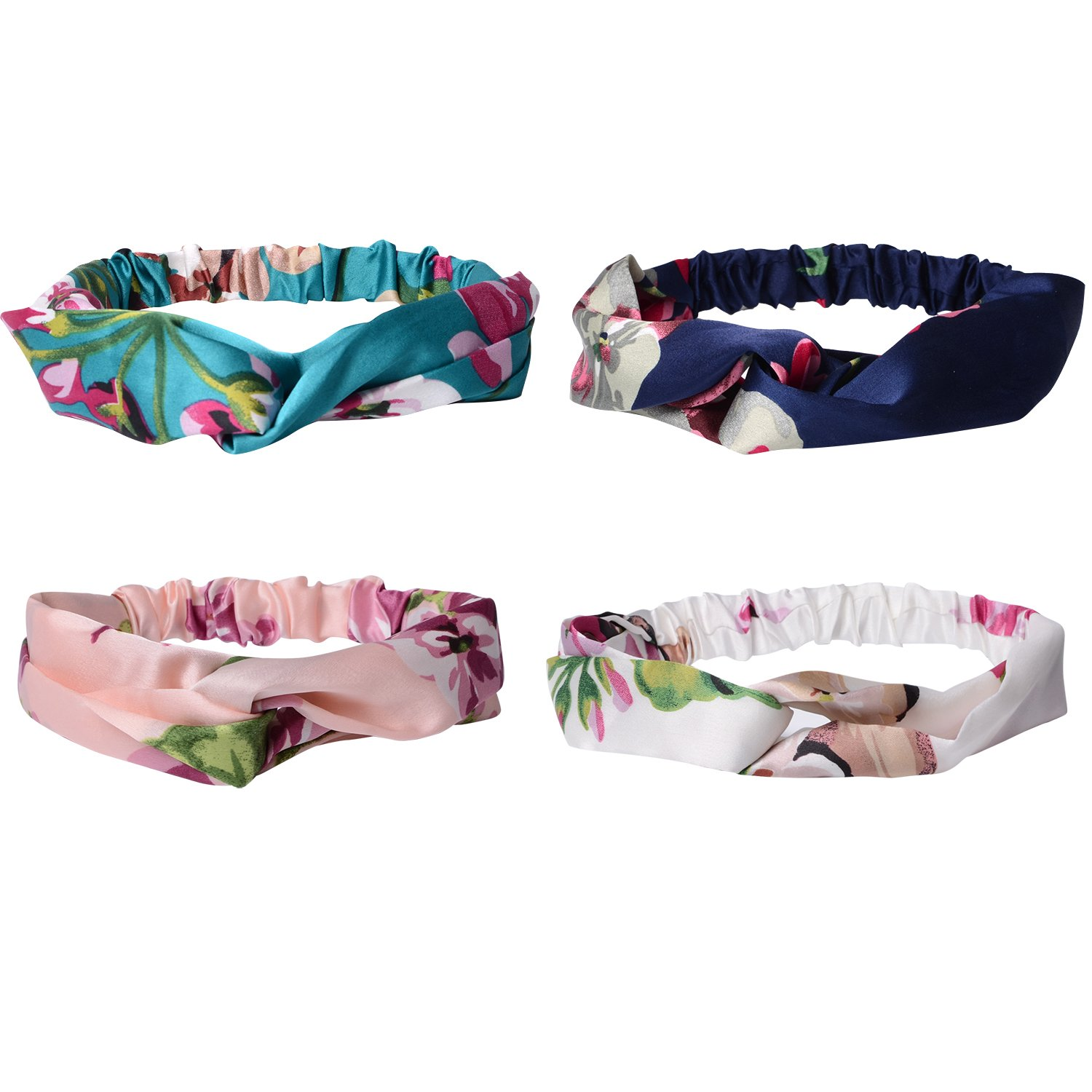 QBSM 4 Pack Women Headbands Floral Elastic Printed Head Wrap Stretchy Hairband for Sport or Daily Wear Sold by ChicSelect