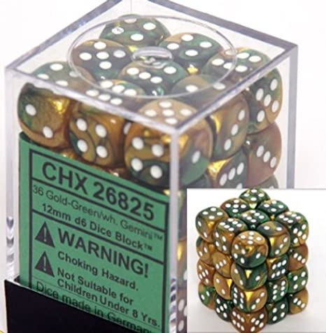 Chessex Dice d6 Sets 12mm Six Sided Die 36 of Borealis Light Green with Gold