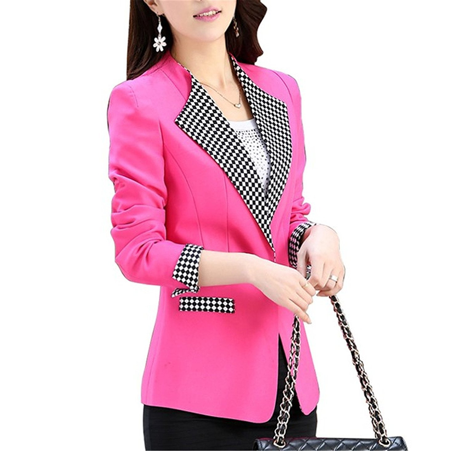 Toping Fine Women Casual long sleeved Single button women coats Elegant Autumn Female Women Suit Office clothing WhiteX-Large