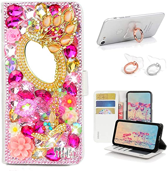 STENES Bling Wallet Case Compatible with Sony Xperia 1 - Pink Stylish 3D Handmade Crown Flowers Design Leather Cover with Ring Stand Holder 2 Pack