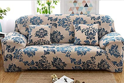 Outstanding Yjbear 1 Pc European Blue Bohemian Ethnic Flower Pattern Polyester Spandex Furniture Cover Slip Resistant Strapless Stretch Chair Loveseat Sofa Gamerscity Chair Design For Home Gamerscityorg