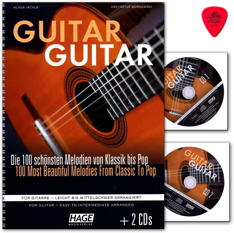Guitarra (con 2 CD, púa Dunlop) 100 melodías más bonitas de clásica hasta Pop para guitarra – Fácil hasta mediano de arreglar – Hage – EH4833-4026929920096: Amazon.es: Instrumentos musicales