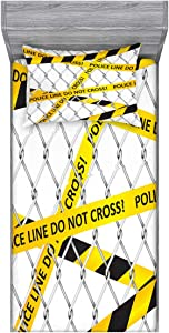 Ambesonne Police Fitted Sheet & Pillow Sham Set, Police Line Do Not Pass Crime Scene Investigation Bands on a Wire Cloth Prinit, Decorative Printed 2 Piece Bedding Decor Set, Twin, Black Yellow
