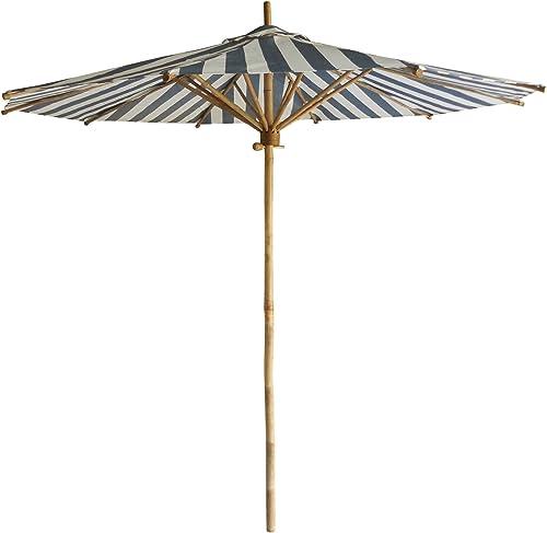 Zero Emission World ZEW Bamboo Umbrella, Navy and White Stripes Canvas