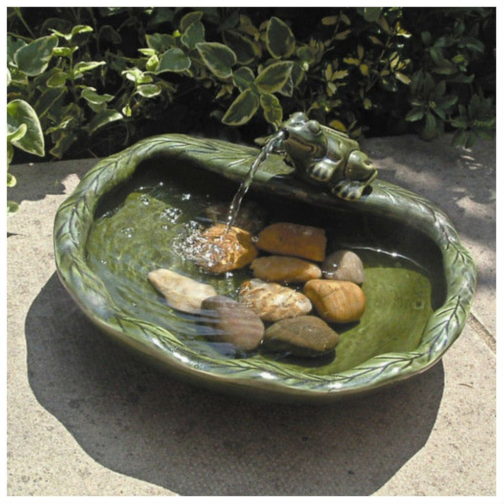 Unbranded* Solar Ceramic Frog Fountain Outdoor Garden Water Birdbath Sunlight Power Green