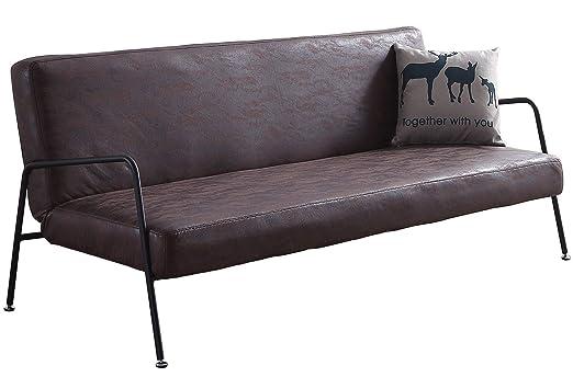 SUEÑOSZZZ - Sofa cama SKULL de 3 plazas color Chocolate, estructura plegable con sistema clic clac. Sofa tres plazas para salon | Sofa con respaldo ...