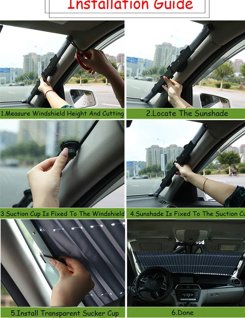 Automatische einziehbare Windschutzscheibe Sonnenschutz mehr Gr/ö/ße Teleskop Auto vorne Sonnenschutz Sommer hinten Auto Visier Auto verhindern W/ärme 70 cm